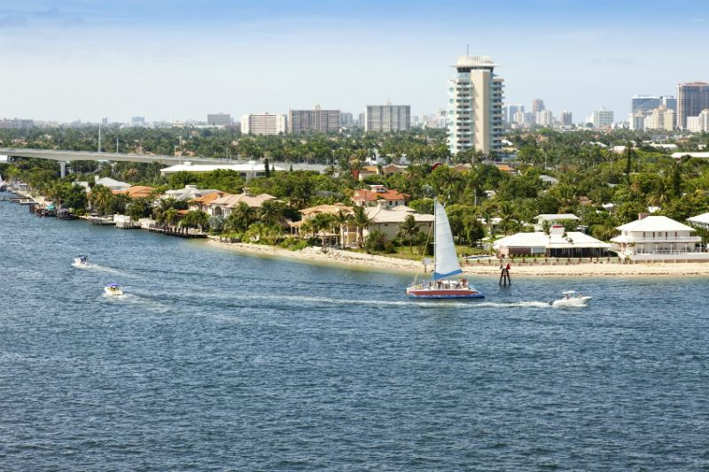 Catamaran, Boats and Cityscape view of Fort Lauderdale, Florida