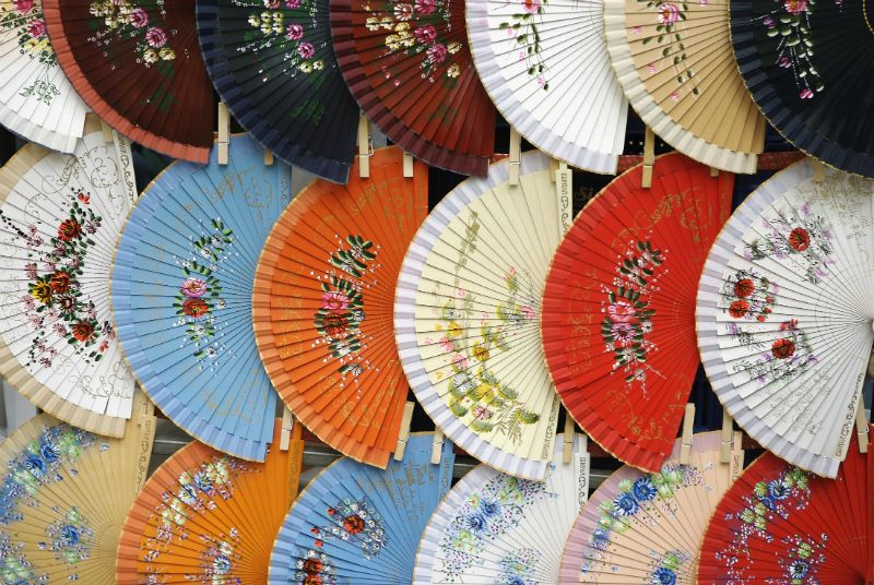 Fans for sale in a market