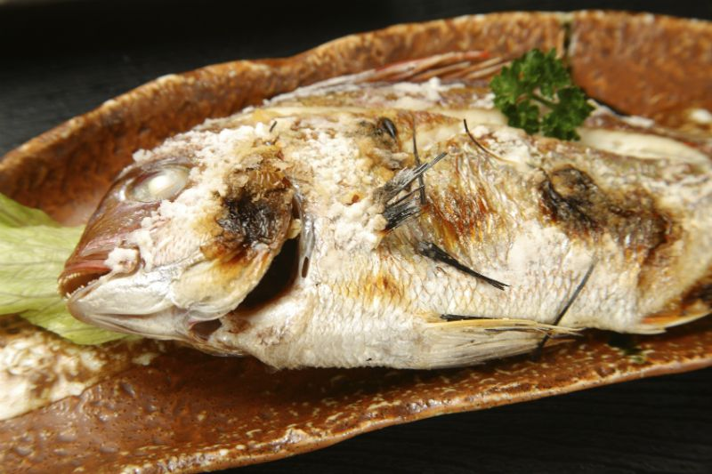 Roasted red sea bream