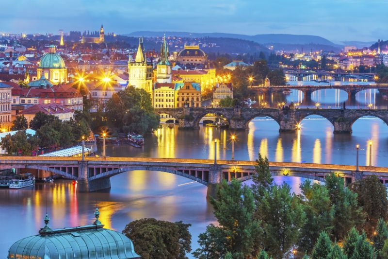 Evening scenery of Prague Czech Republic