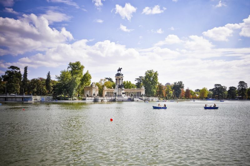 Boats on Lake at El Retiro Park Madrid, Spain