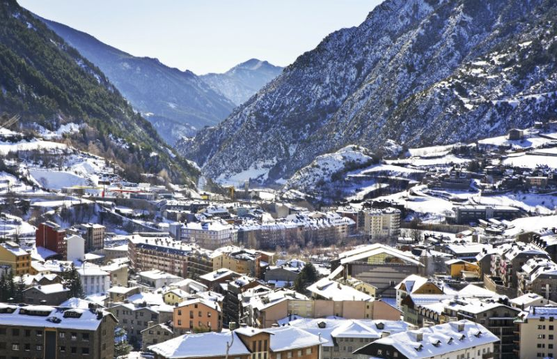 Snowy mountains and village in Andorra, Spain