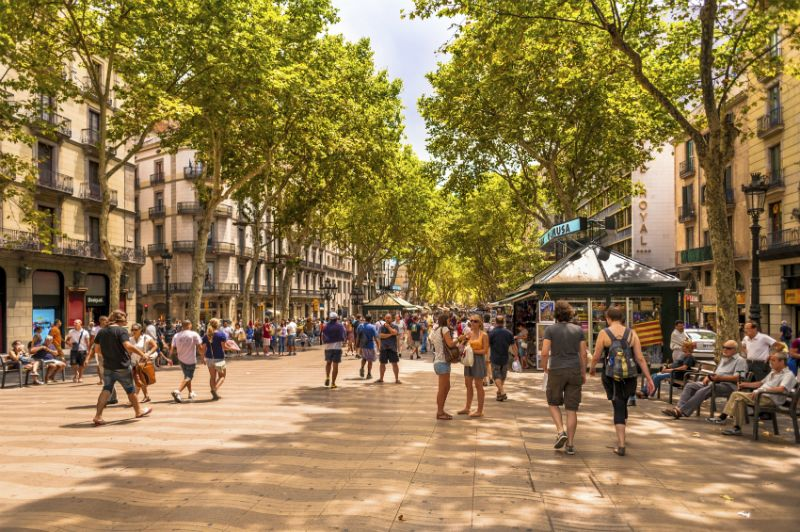 Bustling tree lined street of Las Ramblas, Barcelona, Spain