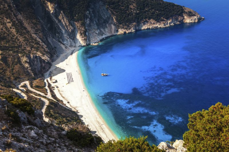 A steep birdseye view of Myrtos Beach, Kefalonia, Greece