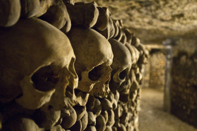 Skulls in Paris Catacombs
