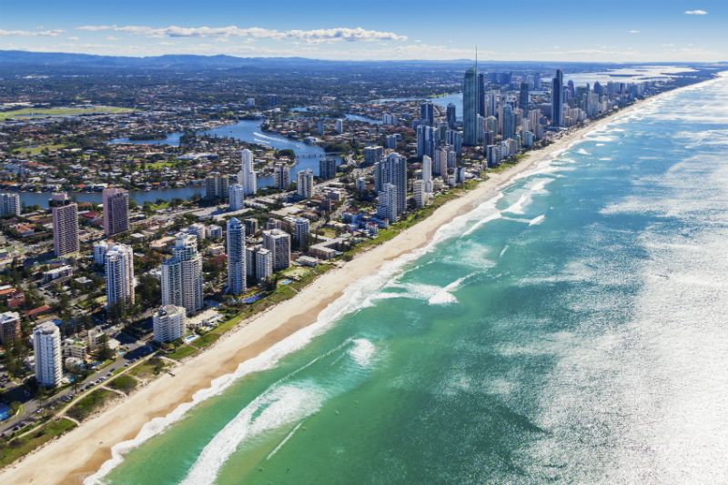 A birds eye view of beach and skyscrapers, Gold Coast, Australia