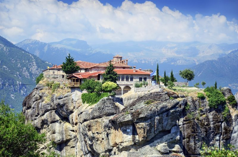 A mountain view of Holy Trinity Monastery, Meteora, Greece