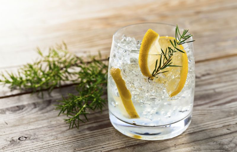 Gin with ice and lemon