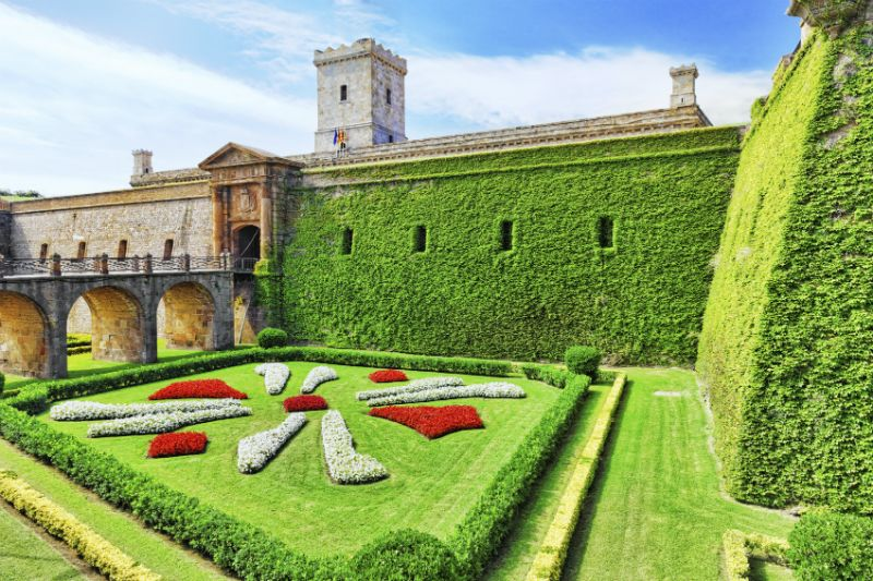 The remains and gardens at Montjuic Castle, Barcelona, Spain