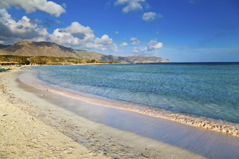 Calm tides and clouds at Elafonissi Beach, Crete, Greece