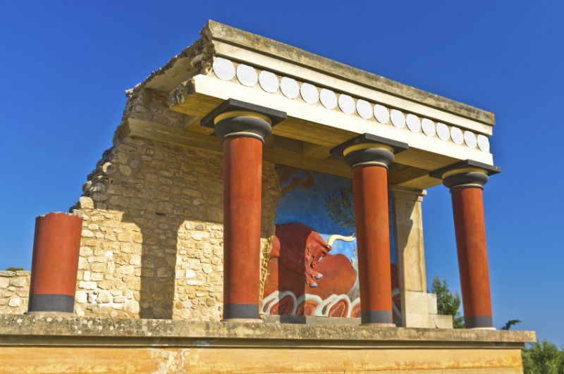 A colourful temple in Knossos Palace, Heraklion, Crete, Greece
