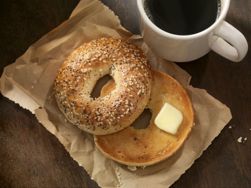 Toasted bagel and coffee