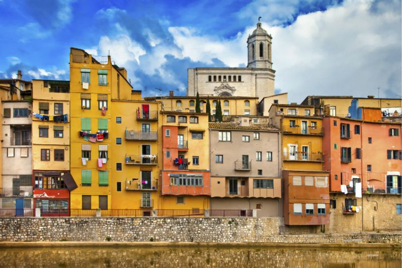 Pastel coloured Girona's townhouses, near Barcelona, Spain