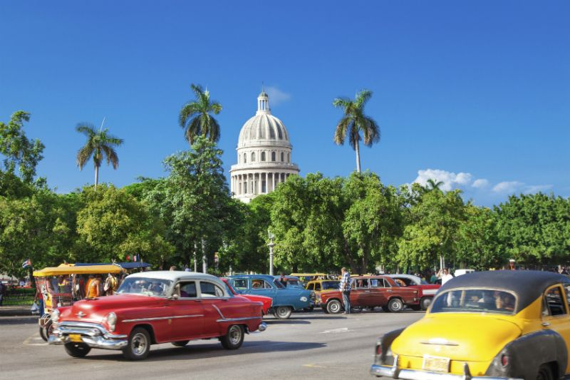 Havana Old City with Classic Cars in Foreground