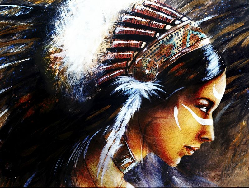 Painting of Native American Woman