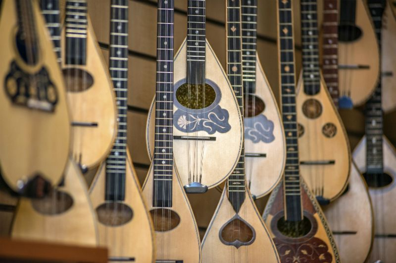 Lutes Typical greek instrument in a store in Athens Greece
