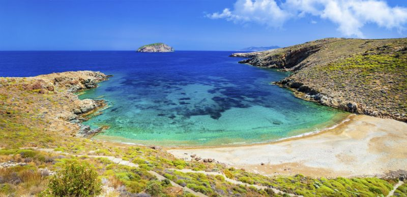A secluded beach scene at Vagia, Serifos in Greece
