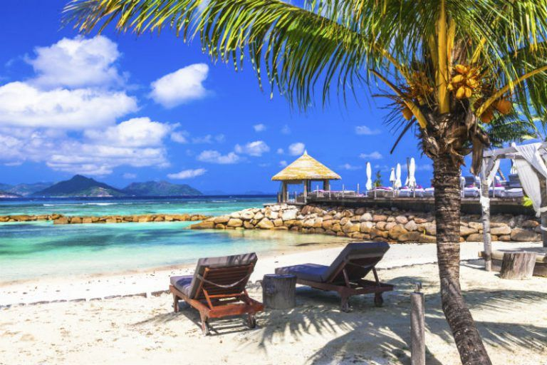 Relaxing beach in The Seychelles