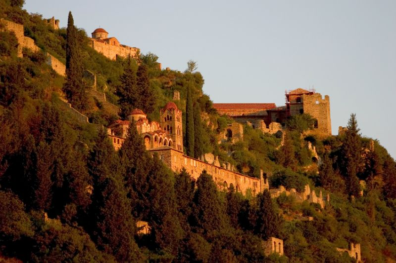 Hill view of Mystras, Greece