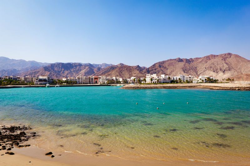 Mountains, Hotels and Shoreline, As Sifah Bay, Muscat, Oman