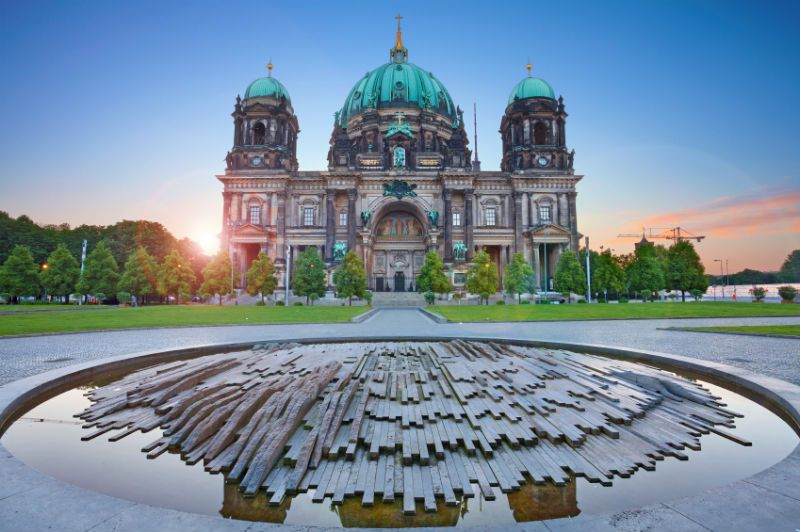 Berlin domed Cathedral at sunset, Germany