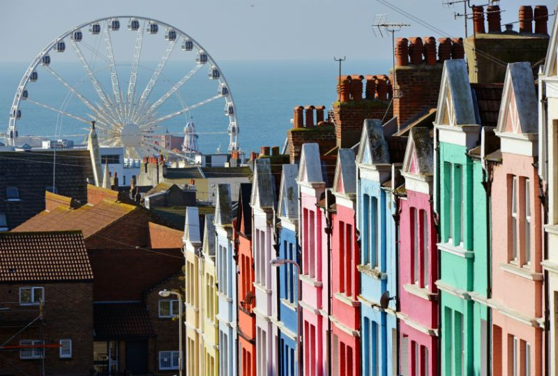 Colourful House Fronts and Ferris Wheel at Brighton, United Kingdom
