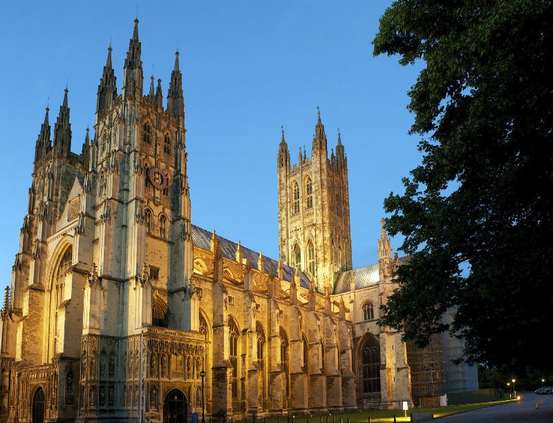 Canterbury Cathedral lit up at night, Canterbury, United Kingdom
