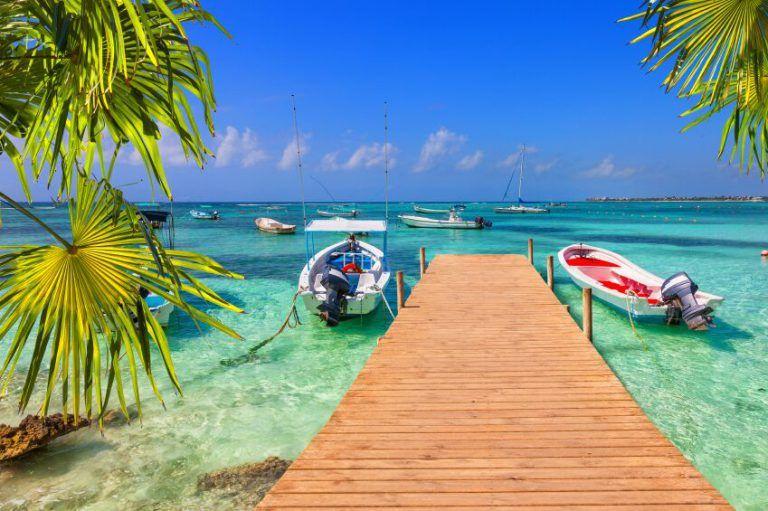 Fishing Boats and Pier Mayan Riviera Cancun