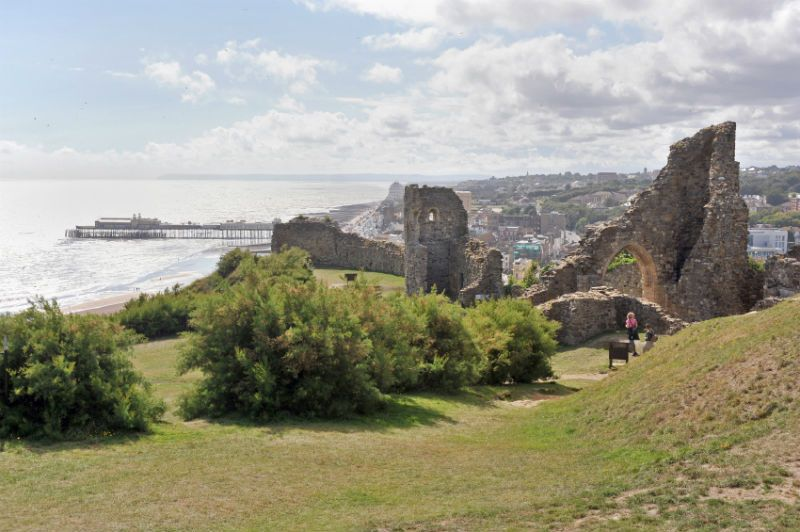 Hastings Castle Ruins and Promenade by the Sea, Hastings, United Kingdom