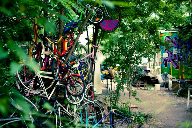 Bikes outside the leafy Kreuzberg District, Berlin, Germany