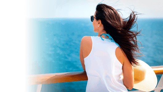 Cruise travel insurance banner - lady on a cruise