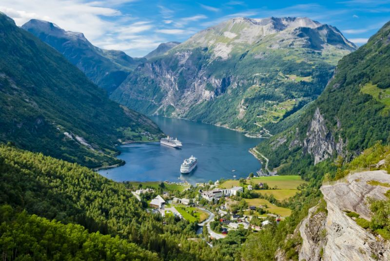 A cruise ship in the Geiranger Fjord, Norway.