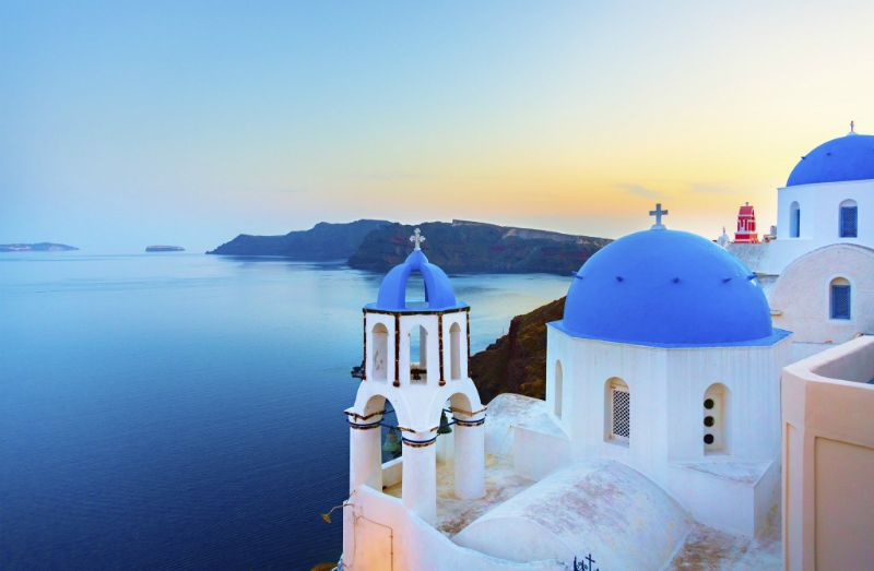 Oia, Philopappou Hill and Parthenon, Santorini, Greece