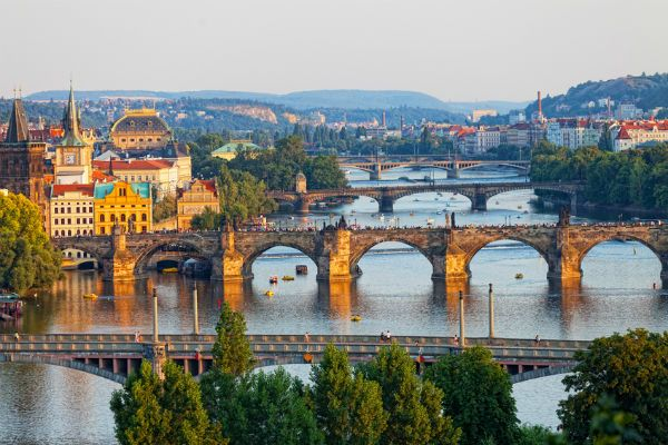 Bridges across the river in Prague