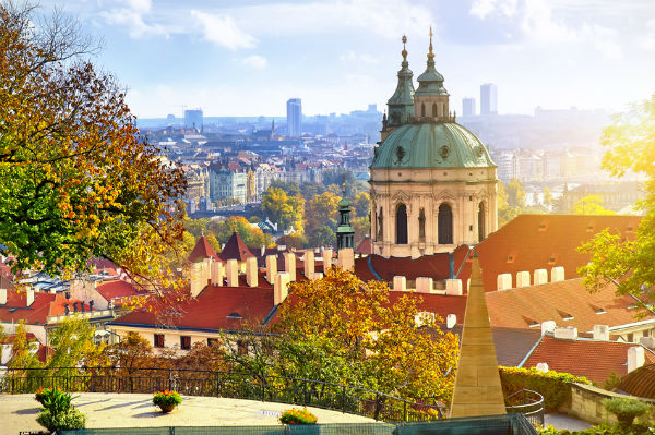 Cityscape of Prague in the Sun
