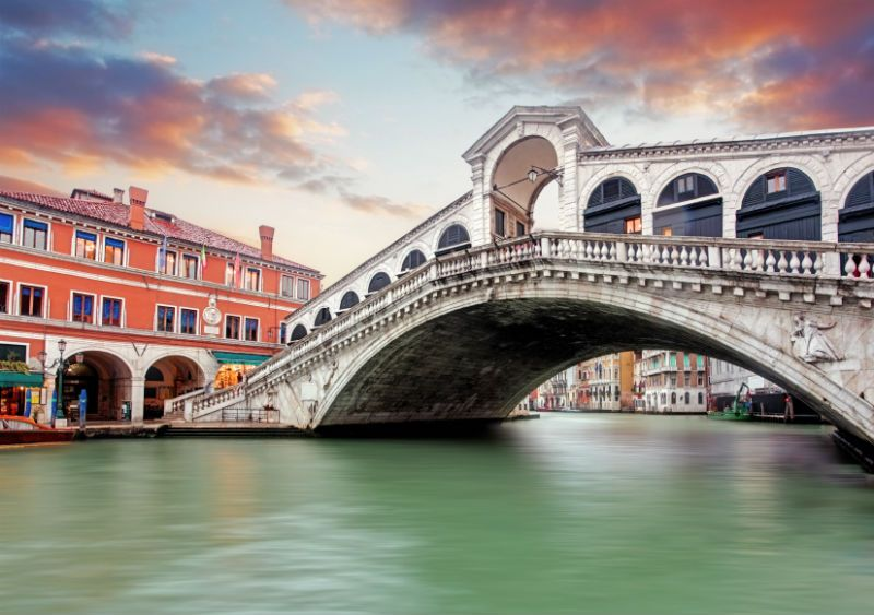 Rialto Bridge, Over water, at Sunset, Venice, Italy