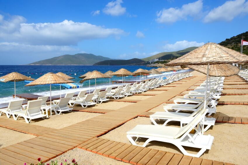 Row of beach loungers Bodrum