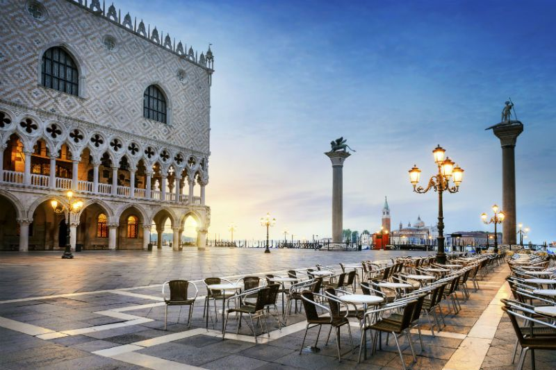 Cafe, Piazza San Marco at Night, Venice, Italy