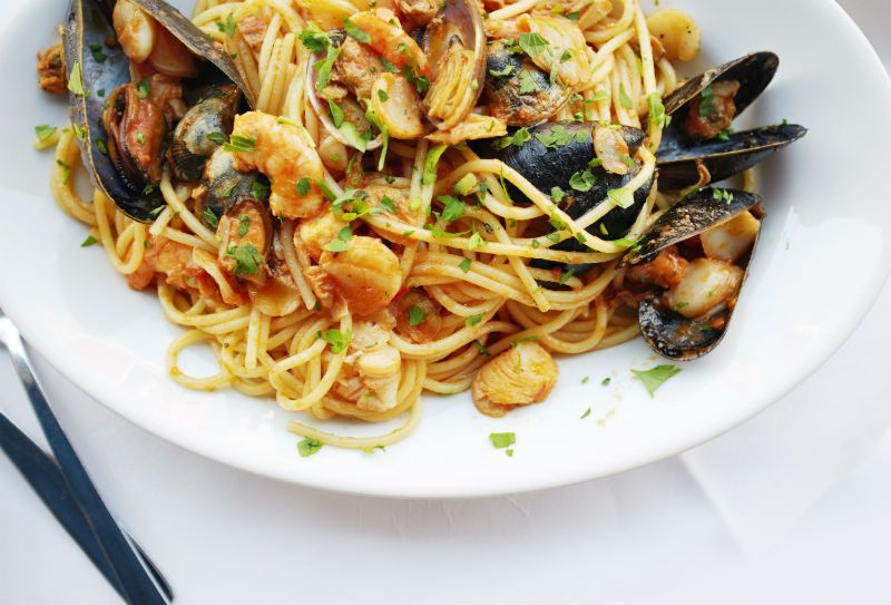 Seafood pasta meal in Venice, Italy