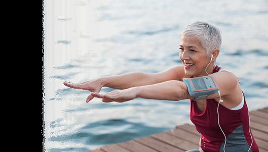 High blood pressure travel insurance banner - senior woman exercising