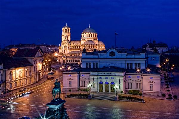 Sofia, Bulgaria by night