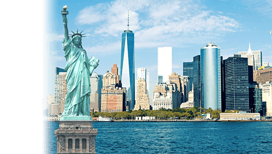 USA travel insurance banner - New York Skyline and the statue of liberty