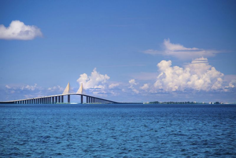 Clouds and blue skies at Tampa Bay Sunshine Skyway, Florida