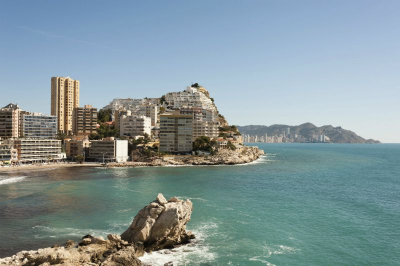 View of hotels on the beach, Benidorm