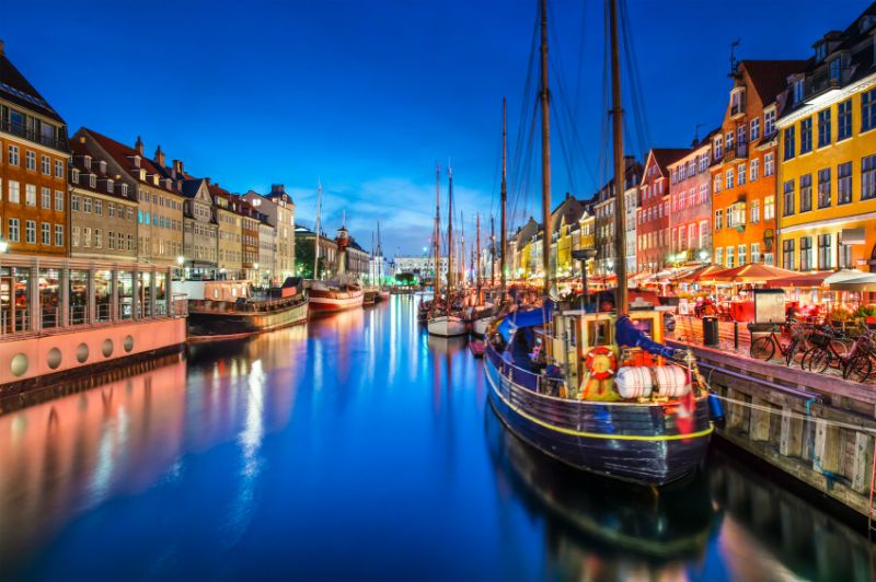 Boats on the River at Night in Copenhagen, Denmark