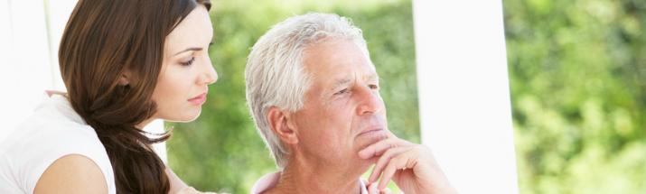 Mature man trying to remember something