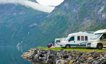 Motorhomes on a clifftop