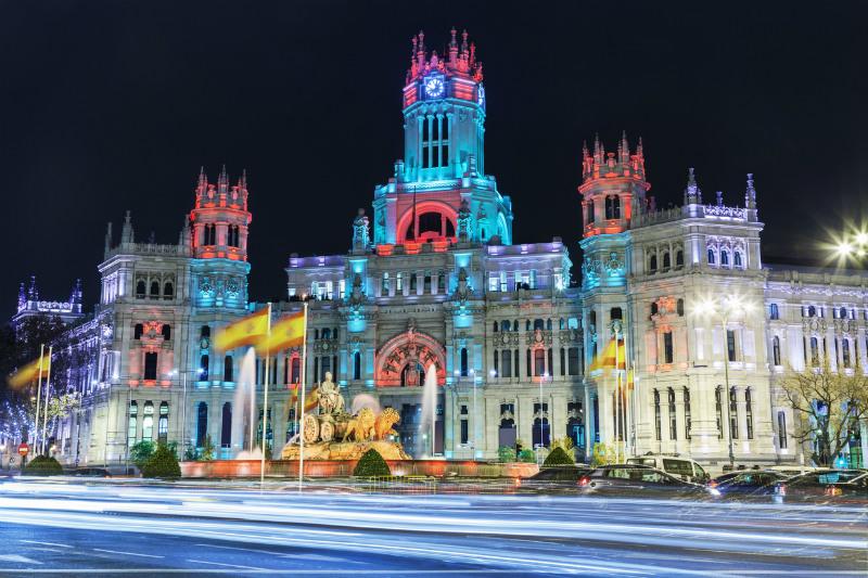 Cibeles square, Madrid, at Christmas