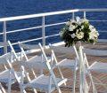 wedding flowers on deck
