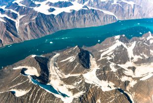 Aerial view over Greenland